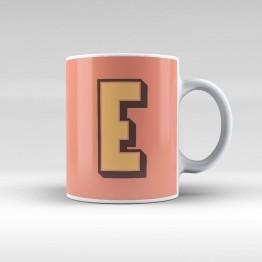 """E"" Harfi - Somon renkli zemin - Kupa"