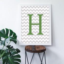 H Harfi - Gri Zigzag Zemin - Poster