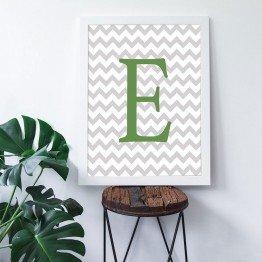 E Harfi - Gri Zigzag Zemin - Poster