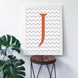 J Harfi - Gri Zigzag Zemin - Poster