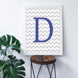 D Harfi - Gri Zigzag Zemin - Poster