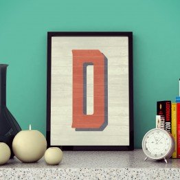 D Harfi - Ahşap dokulu - Poster