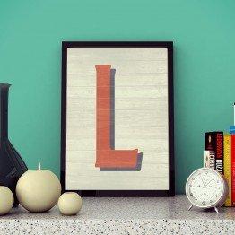 L Harfi - Ahşap dokulu - Poster