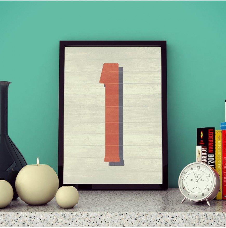 1 Sayısı - Ahşap dokulu - Poster