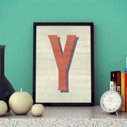 Y Harfi - Ahşap dokulu - Poster