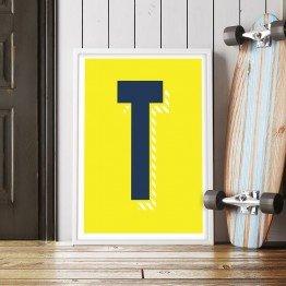 T Harfi - Sarı zemin - Poster