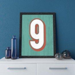 9 Sayısı - Mint Eskitme Ahşap - Poster
