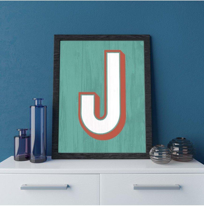 J Harfi - Mint eskitme ahşap - Poster