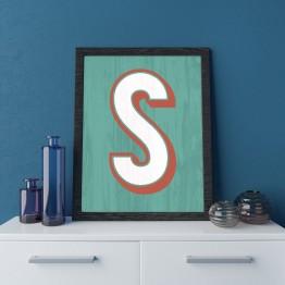 S Harfi - Mint eskitme ahşap  - Poster