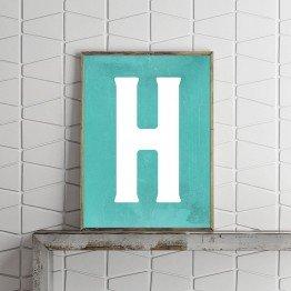 H Harfi - Grunge mint zemin  - Poster