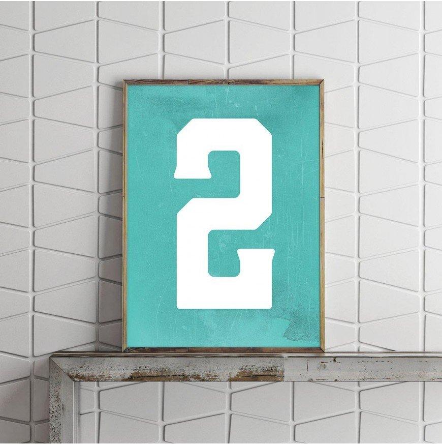 2 Sayısı - Grunge Mint zemin - Poster