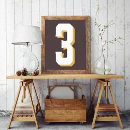 3 Sayısı - Kahverengi Ahşap zemin - Poster