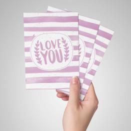 I Love you - çizgili - Kartpostal