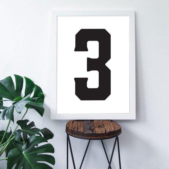 3 Sayısı - Beyaz zemin - Poster