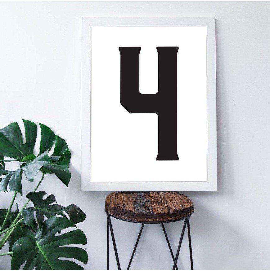 4 Sayısı - Beyaz zemin - Poster